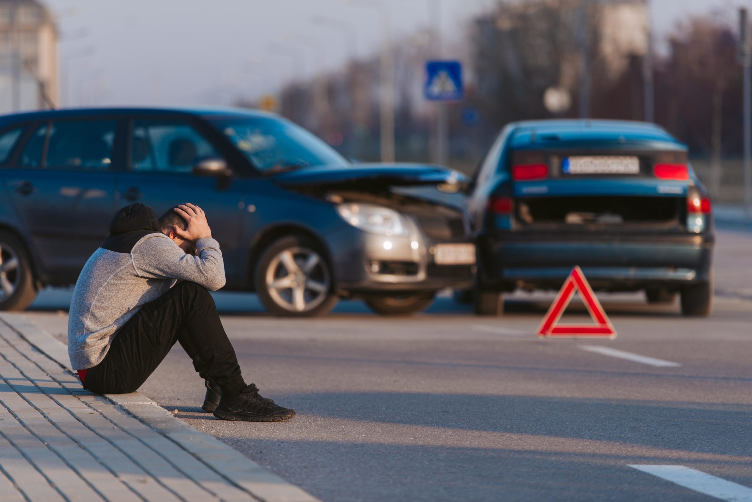 man after car accident