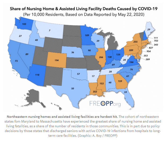 coronavirus deaths in nursing homes map in united states